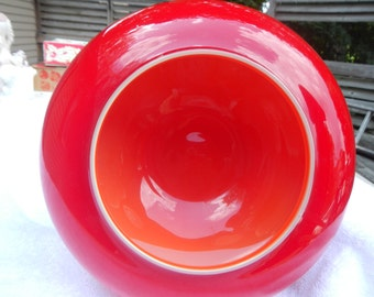 SALE HALF Off Vintage Depression Red UFO Shaped Bowl Ann Arbor Michigan