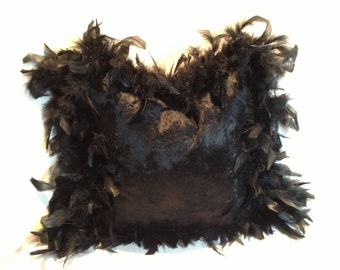 Designer Pillow with Feather Trim