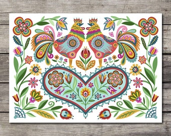 Rooster Blank Note Cards Happy and Joyful Cards. Folky Style Florals Polish Folk Greeting Card Set