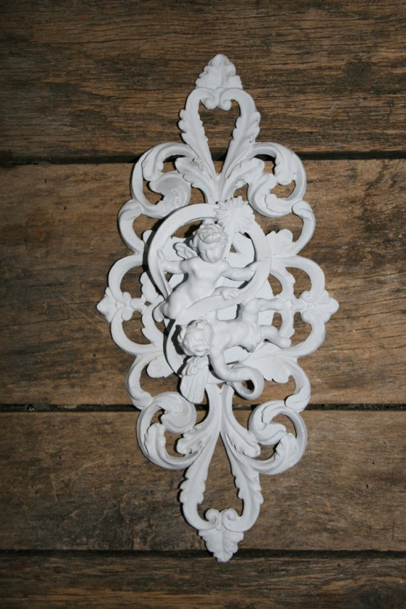 Furniture//Door Moulding Onlay Shabby Chic 4x Decorative Rosette Resin Applique