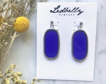 Royal Blue Translucent Stained Glass Oval Earrings | Stained Glass Earrings | Translucent Earrings | Oval Earrings | Statement Earrings