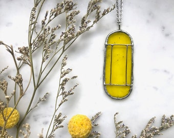 Yellow Art Deco Translucent Stained Glass Necklace | Cathedral Necklace | Glass Necklace | Vintage Style Necklace