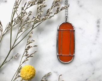 Orange Art Deco Translucent Stained Glass Necklace | Cathedral Necklace | Glass Necklace | Vintage Style Necklace