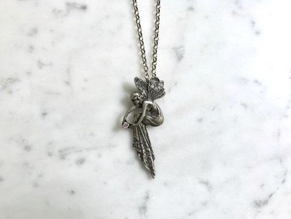 Art Nouveau Sterling Silver Fairy Necklace | Art N