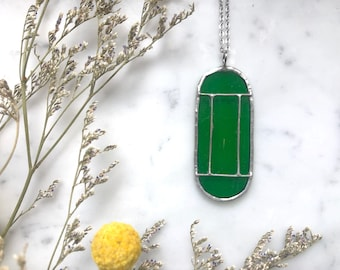 Green Art Deco Translucent Stained Glass Necklace | Cathedral Necklace | Glass Necklace | Vintage Style Necklace