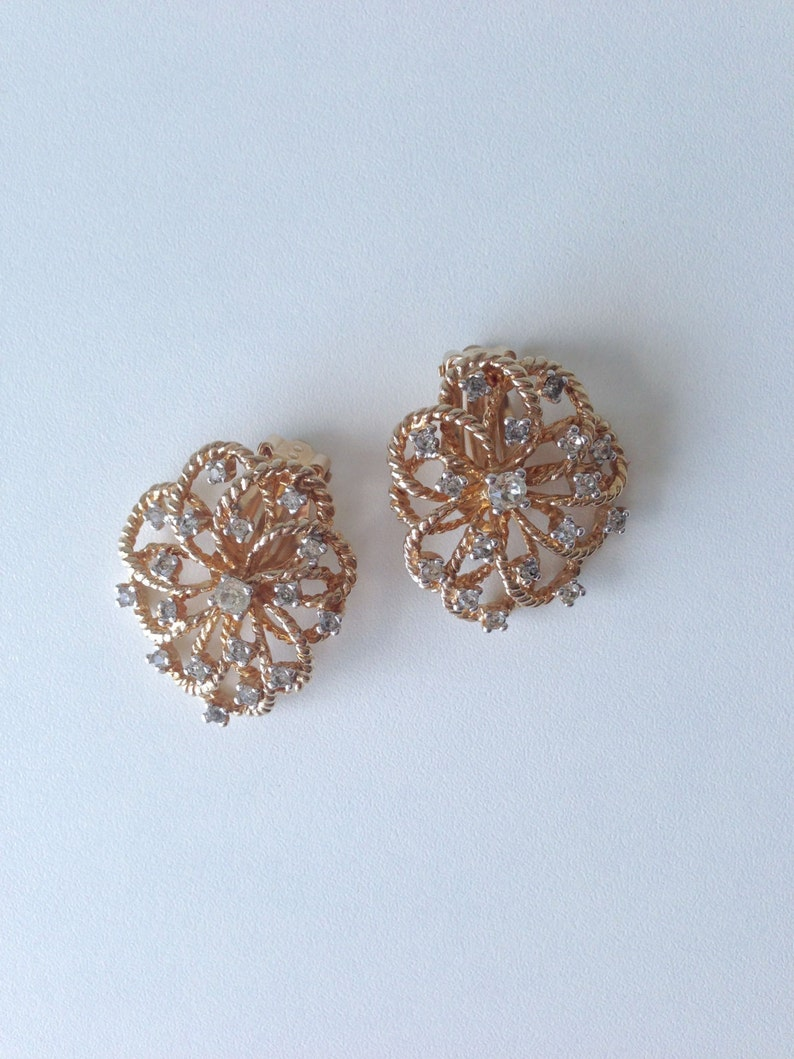 Vintage PANETTA Gold Tone and Diamante Stones Clip On Earrings image 0