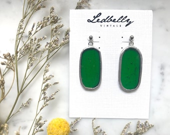 Green Translucent Stained Glass Oval Earrings | Stained Glass Earrings | Translucent Earrings | Oval Earrings | Statement Earrings