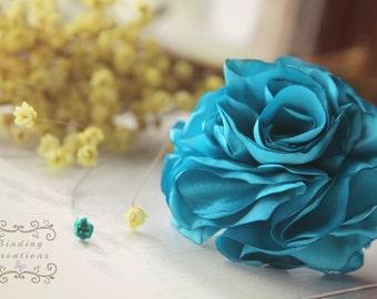 TurquoiseAqua Flower Hair Pins