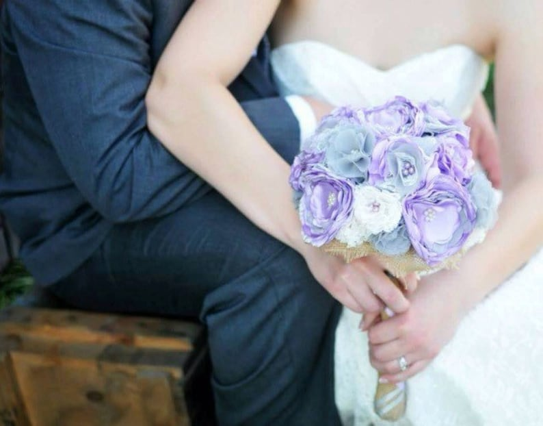 Purple Wedding Flowers Keepsake Bouquet Shabby Wedding Etsy