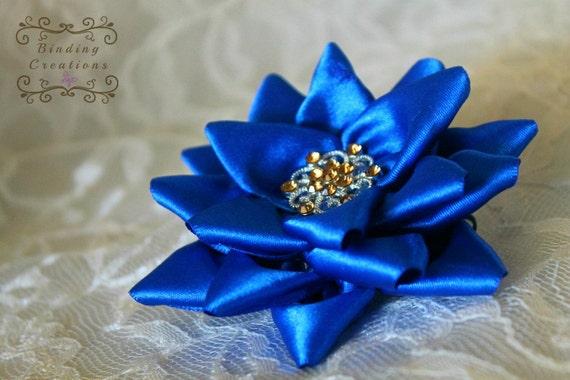 Fleur De Lotus Bleu Mariana Kanzashi Ruban Fleur Fleur De