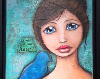 Listen to your heart - Mixed Media Original