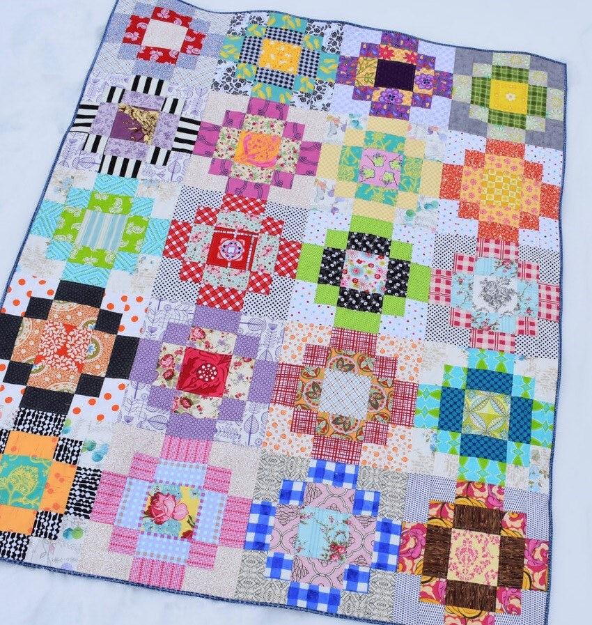Patchwork Square Quilt Patterns: Square One Quilt Pattern Instant PDF Download Patchwork