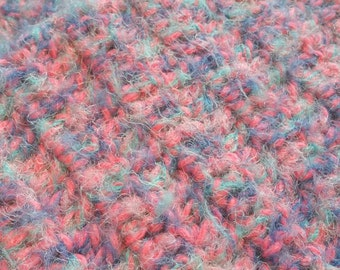 Large Pink Baby Blanket with Lavender, Light Blue, and Dark Blue Fuzzy