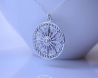 Sundial Necklace. Long Compass Necklace. Long Boho Necklace. Sterling Silver Long Necklace