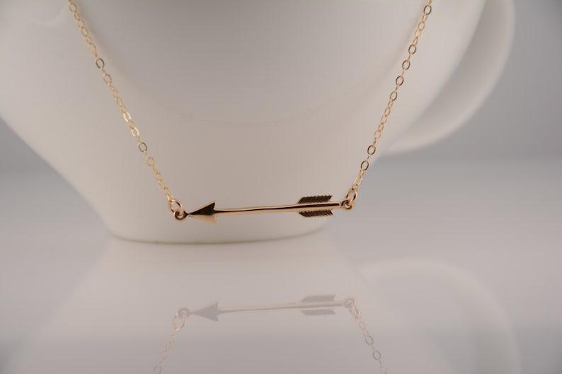 Sideway arrow necklace Gold arrow necklace Arrow necklace