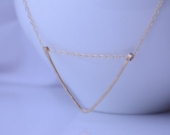Hammered Triangle Necklace. Minimalist Necklace. Gold filled Triangle Necklace