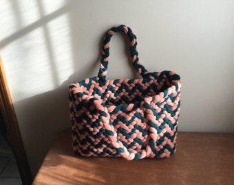 Forest Green/ Pale Orange braided purse