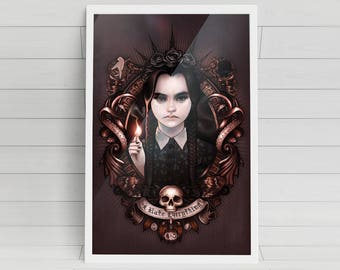 """I Hate Everything - Wednesday Addams of """"The Addams Family"""" signed art prints"""