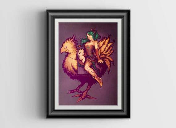 Mog's Chocobo Riding Club miniprint - 4x6