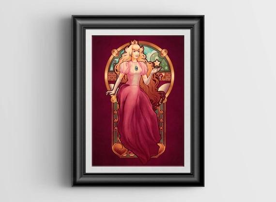 "Princess Toadstool Nouveau signed art print - A4 Size (about 8.5""x11.5"")"