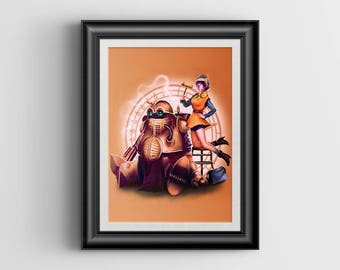 Lucca and Robo - Chrono Trigger - signed art prints