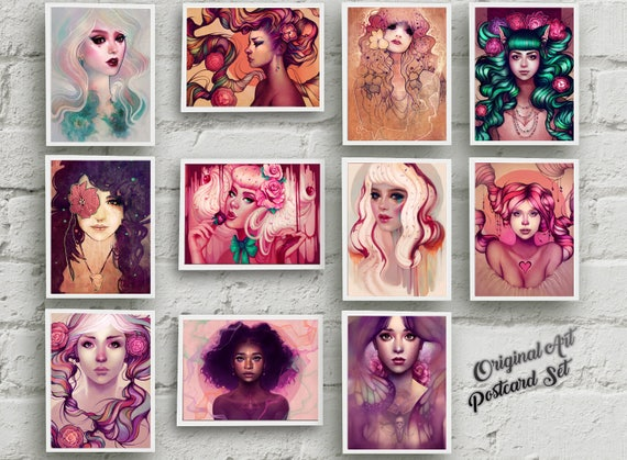 "Super Sweet Postcard Set -- ELEVEN Original Art Postcards - 4""x6"""