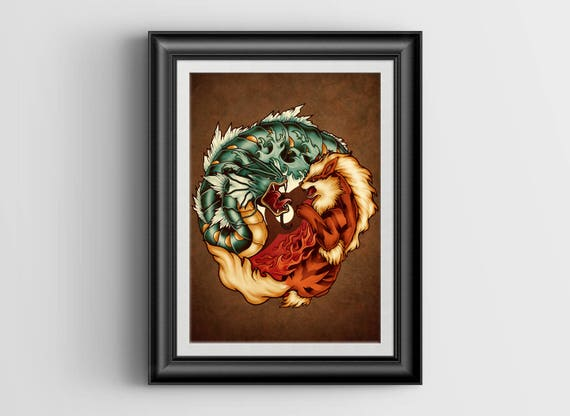 The Tiger and the Dragon signed mini print - 4x6