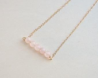 Rose Quartz Rod Necklace, Gemstone Necklace, Rose Quartz Beaded Necklace, Light Pink Gemstone Beaded Necklace - 14K Gold-Filled Chain