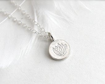 Stamped Lotus Disc Necklace, Sterling Silver Lotus Necklace, Silver Flower Necklace, Silver Disc Necklace, Sterling Silver or Gold Vermeil