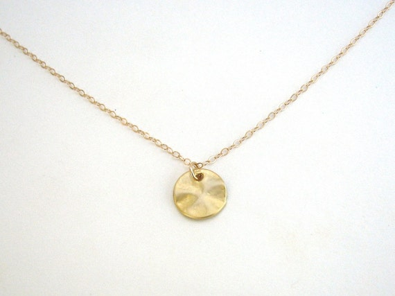 Small disc necklace disc pendant gold circle necklace aloadofball Image collections