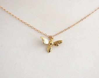 Bee Necklace, Gold Bee Necklace, Insect Necklace, Bug Necklace, Gold Vermeil Necklace, Gold Vermeil Sterling Silver, Delicate Gold Necklace