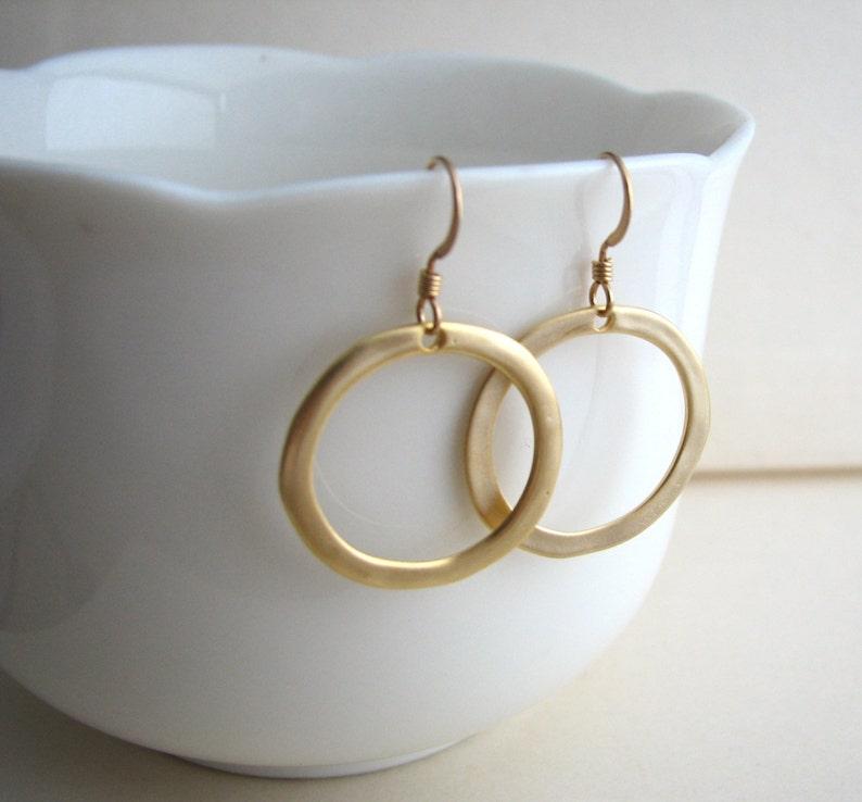 Minimalist Earrings Silver Dangle Earrings Sterling  Gold Ear Wires Simple Silver Hoop Earrings Silver Circle Earrings Silver or Gold