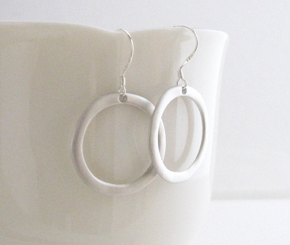 Simple Silver Hoop Earrings Silver Circle Earrings Silver ...