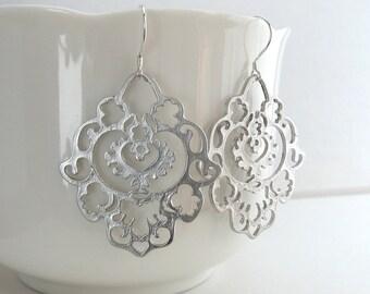 Silver Bohemian Earrings, Large Bohemian Earrings, Large Dangle Earrings, Silver or Gold - Sterling Silver or 14k Gold Fill Ear Wires