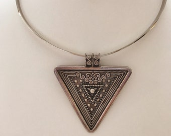 Sterling Silver Marked Triangle Vintage Pendant with Sterling Silver Choker Bib Slider Necklace