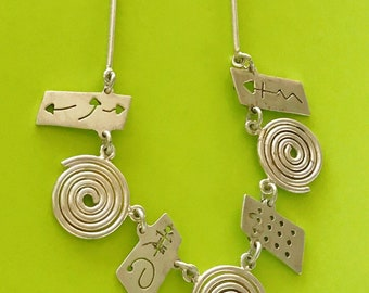 Mexico Sterling Silver 925 Geometric Art Design Tribal Necklace