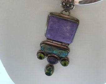 Beautiful Vintage Greystone Pendant Bib Slider Necklace Sterling Silver Purple Blue Green