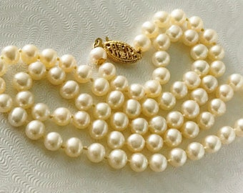 "Gorgeous Classic Vintage 17"" Cultured Pearl Necklace with 14k Yellow Gold Clasp"