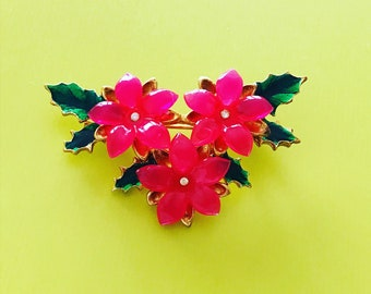 Rare Signed Lia Lianna Lucite Hot Pink Flower Brooch Vintage