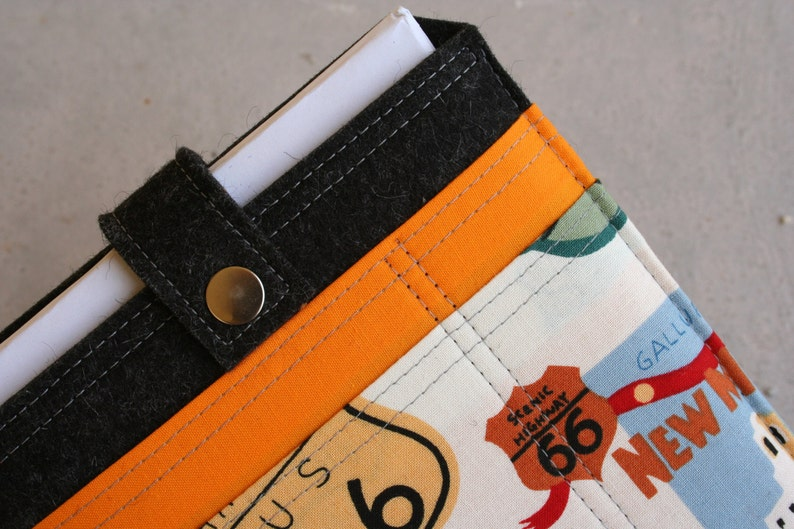 iPad Mini sleeve case with colorful front pockets Wool felt 3mm thick Route 66