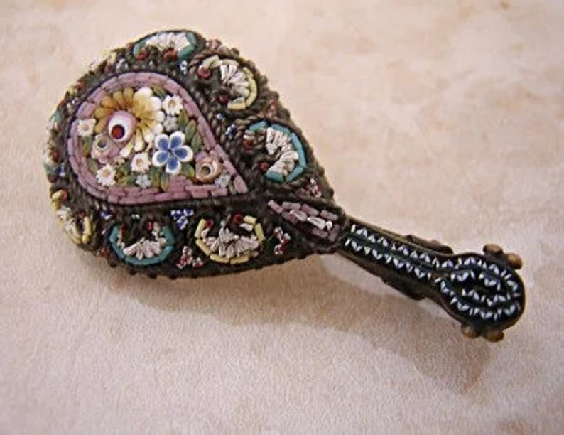 Silver Micro Mosaic Lute BroochPin Grand Tour Venetian