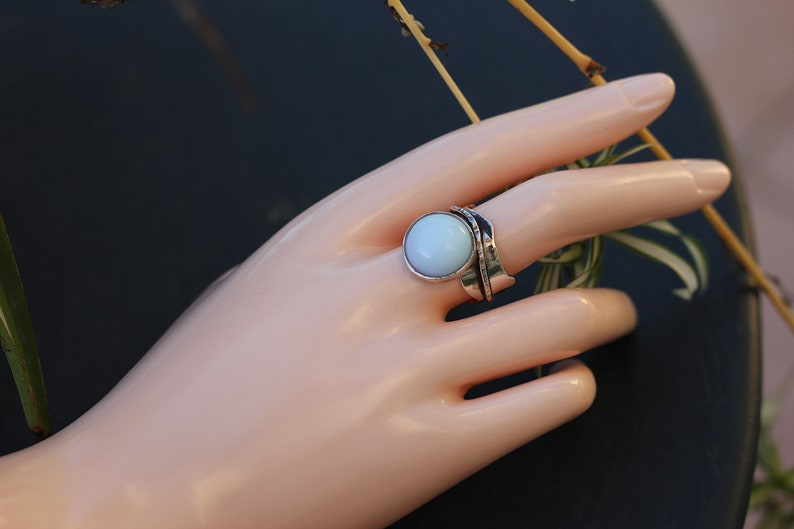 Large Opal silver wave Ring