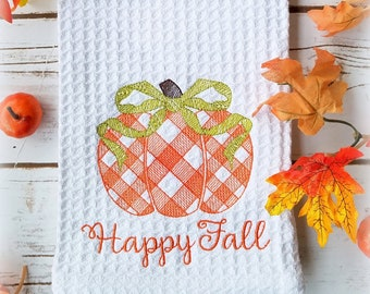 Gingham Pumpkin Kitchen towel-Tea Towel- Pumpkin Autumn decor- Happy Fall Kitchen Towel