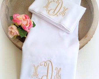 monogrammed pillowcases-Personalized Pillowcase-Couple Pillow-Couple Shower Gift