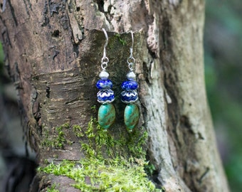 High Priestess Earrings with Lapis Lazuli and African Turquoise- lapis lazuli earrings- gemstone earrings- Mother's Day Gifts