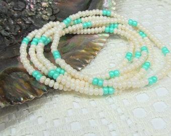 Seed Bead Stretch Bracelet, Wrap Bracelet, Layering Bracelet, Boho Bracelet, Handmade Bracelet, Eggshell with Mint