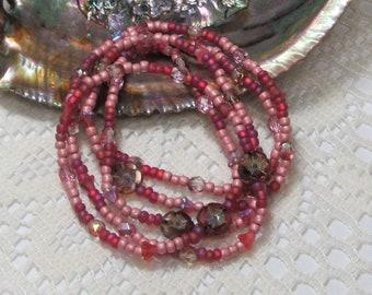 Seed Bead Stretch Bracelet, Wrap Bracelet, Layering Bracelet, Boho Bracelet, Pink Blossom