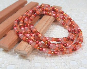 Seed Bead Stretch Bracelet, Wrap Bracelet, Layering Bracelet, Boho Bracelet, Handmade Bracelet, Adobe