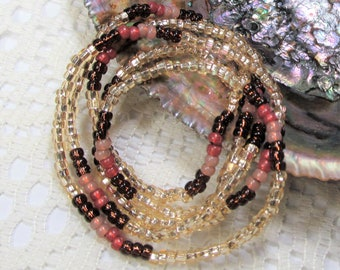 Seed Bead Stretch Bracelet, Wrap Bracelet, Layering Bracelet, Boho Bracelet, Handmade Bracelet, Gold with Rootbeer Brown and Pink