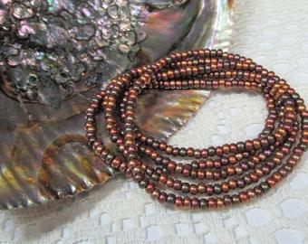 Seed Bead Stretch Bracelet, Wrap Bracelet, Layering Bracelet, Unisex Bracelet, Boho Bracelet, Metallics
